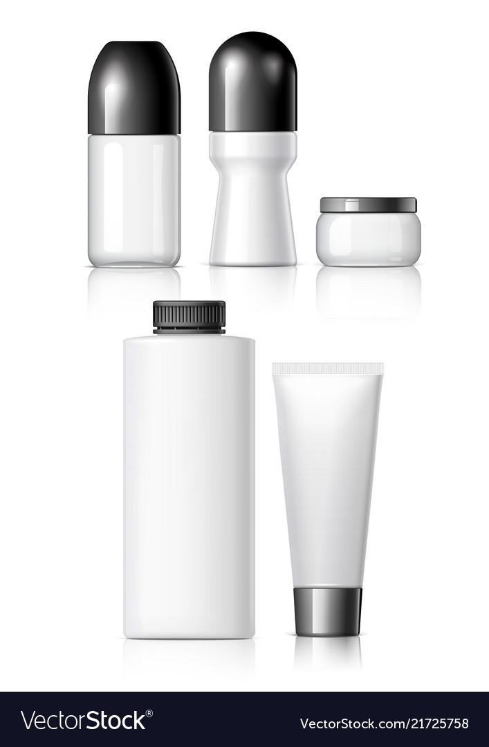 Set of realistic cosmetic bottle