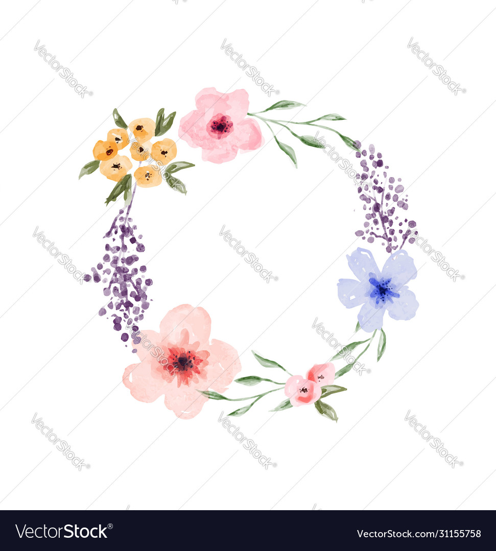 Spring watercolor flower circle wreath frame