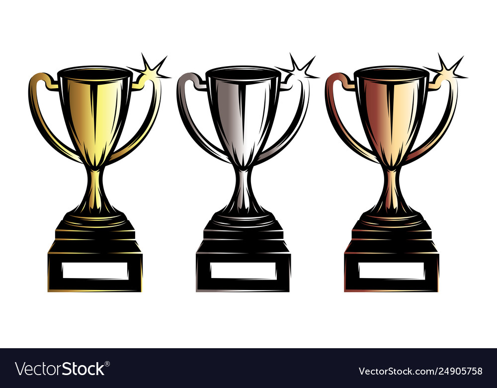 Template with prize cup on sports theme