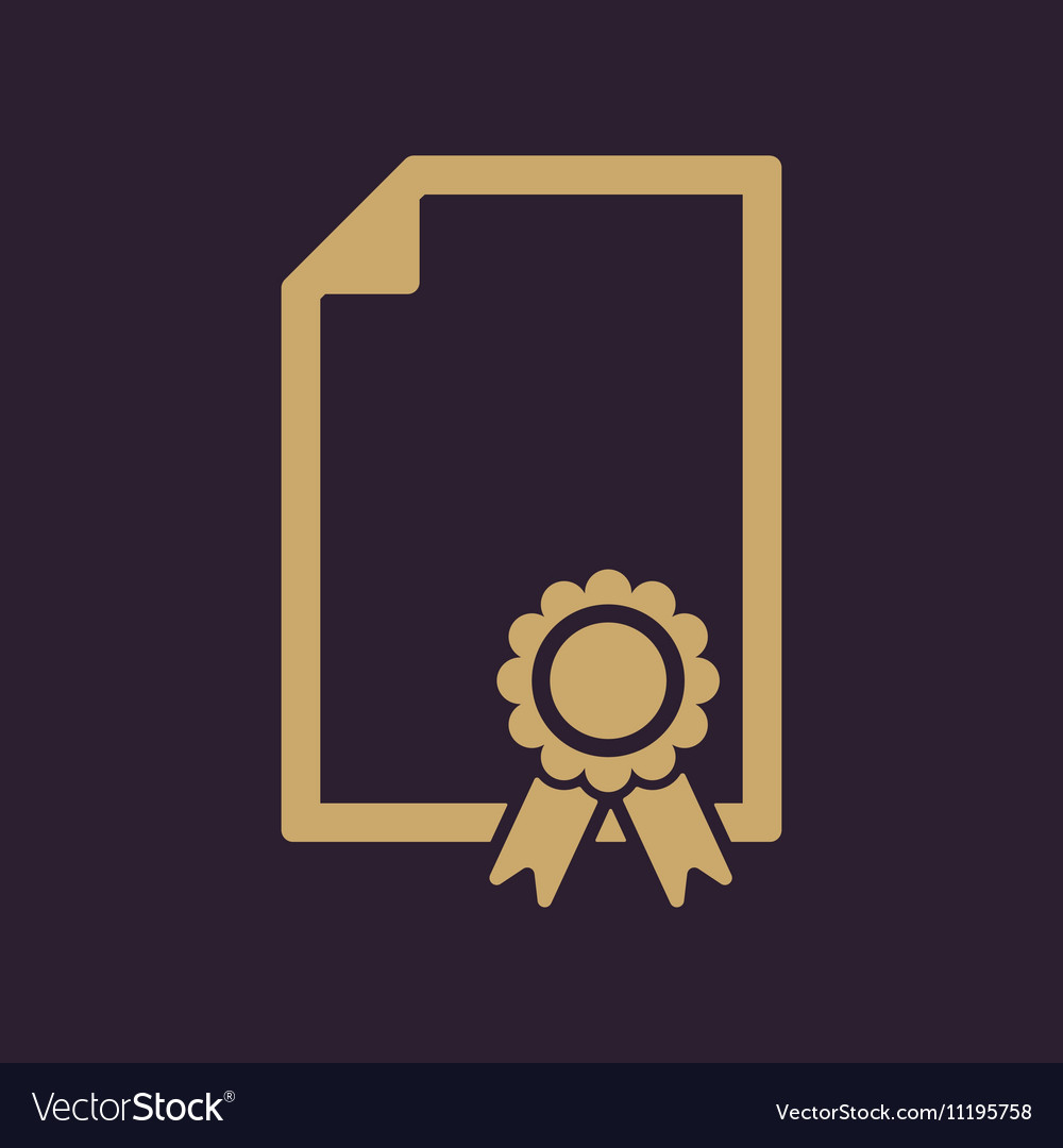 The certificate icon Diploma symbol Flat