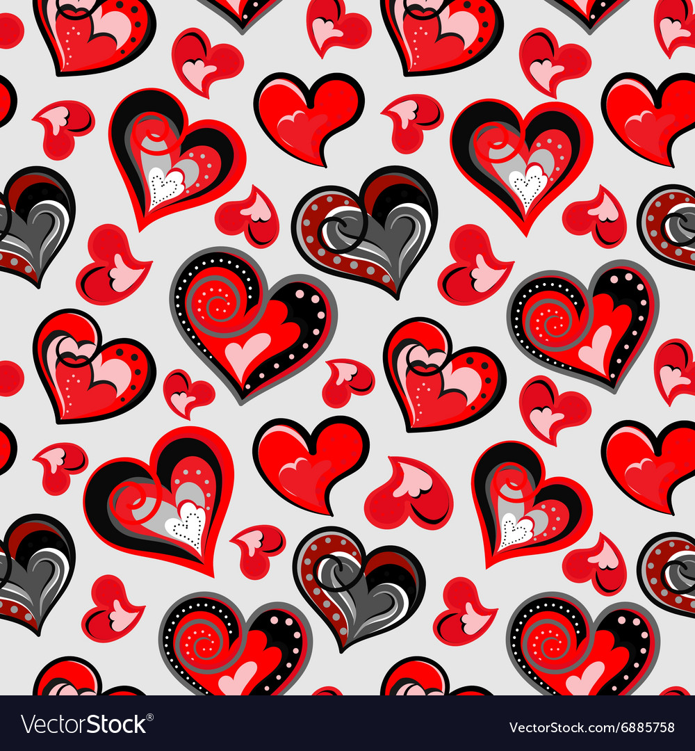 Valentines day artistic hand drawn colorful hearts