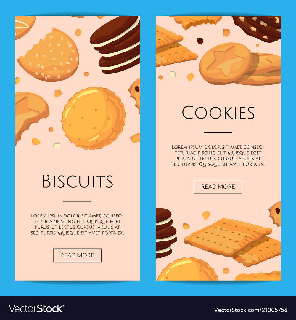 Vertical web banners with cartoon cookies