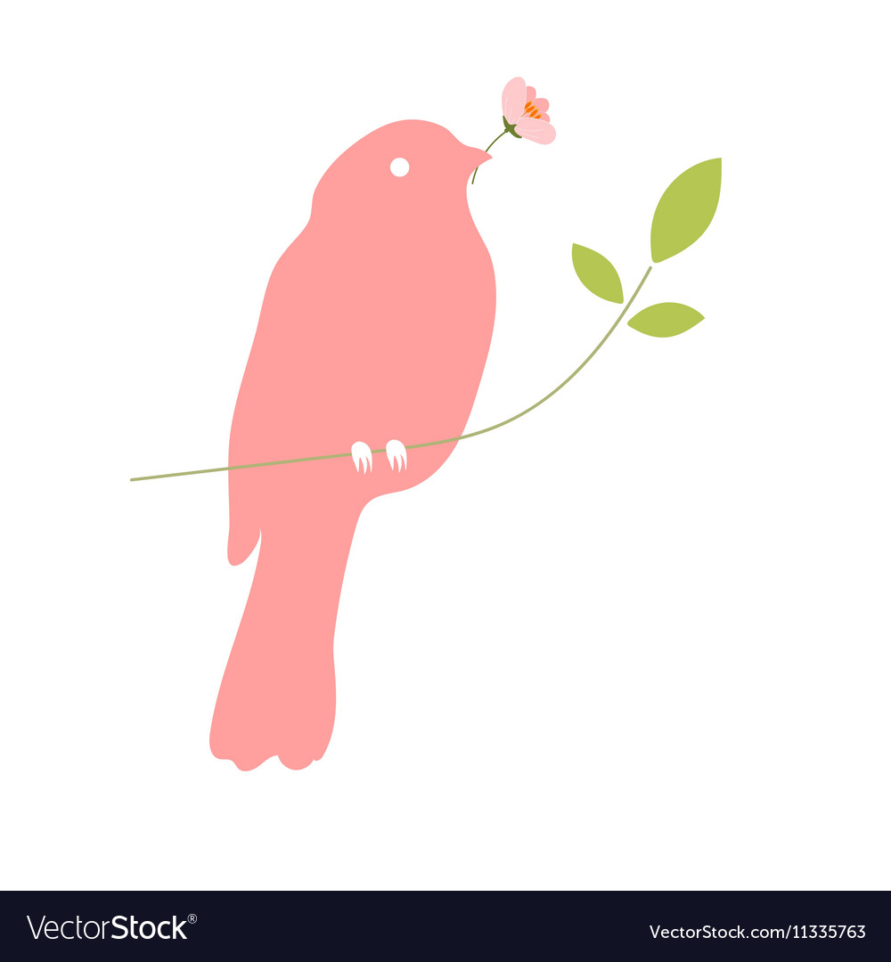 Bird with flower in beak