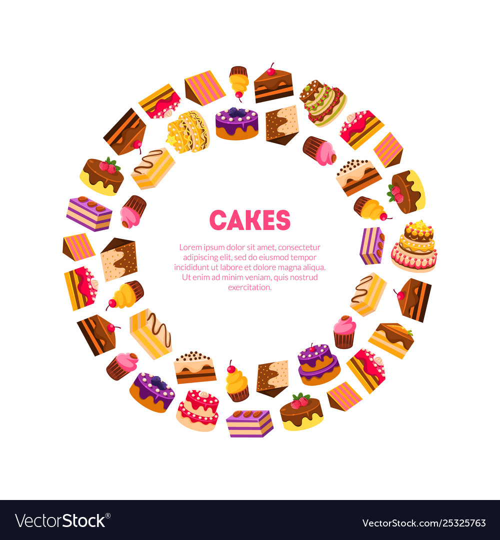 Cakes banner template delicious desserts in
