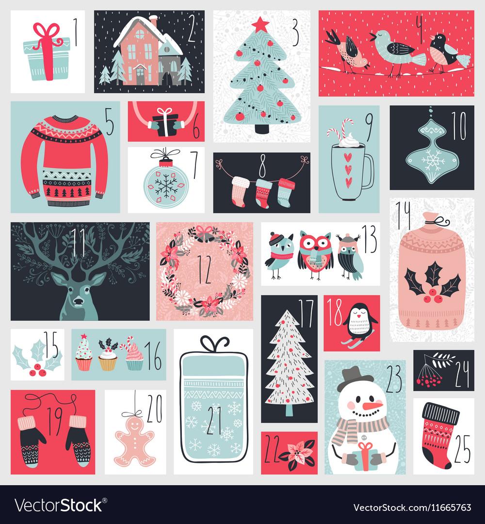 Christmas advent calendar hand drawn style