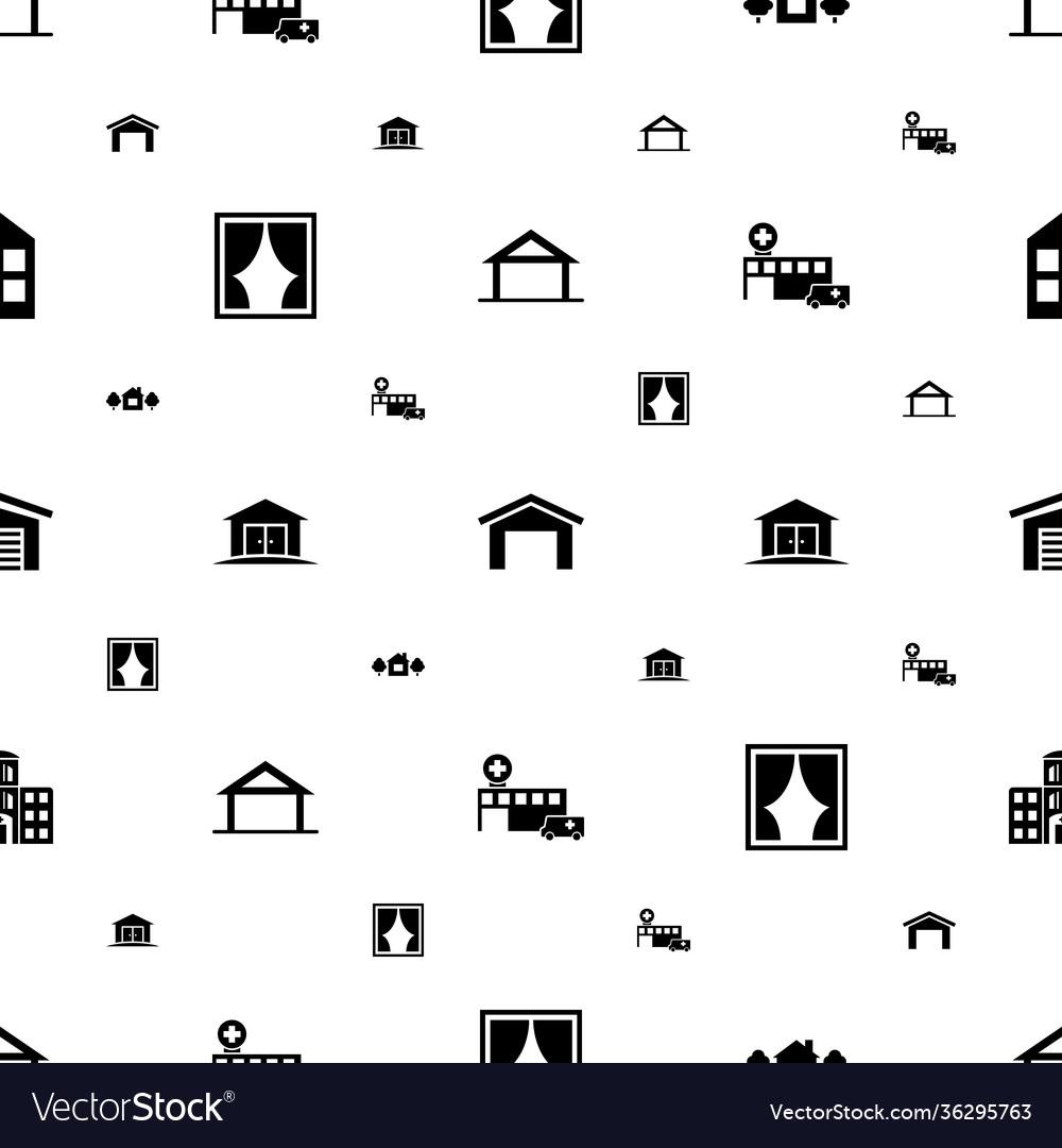 Exterior icons pattern seamless white background
