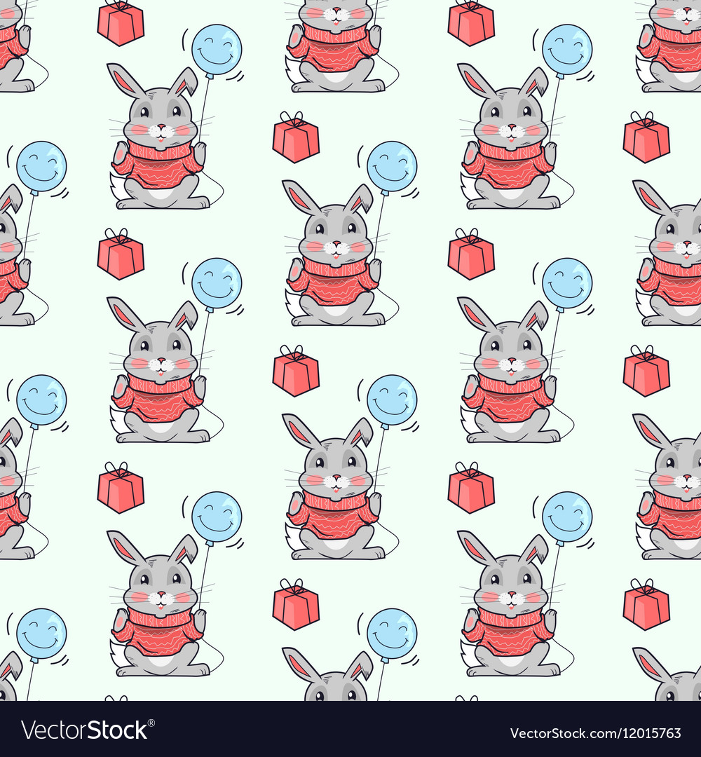 Funny Rabbits Seamless Pattern in Flat