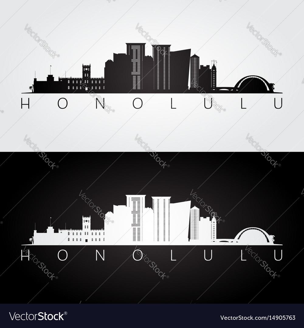 Honolulu usa skyline and landmarks silhouette