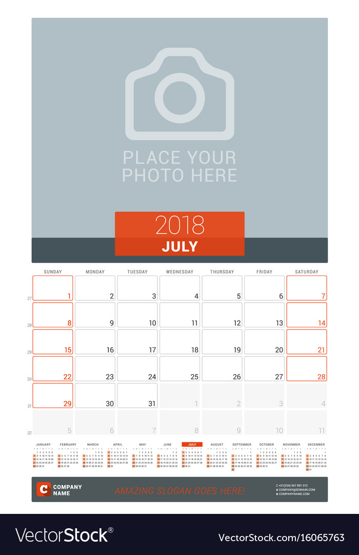 July 2018 Wall Monthly Calendar Planner For 2018 Vector Image