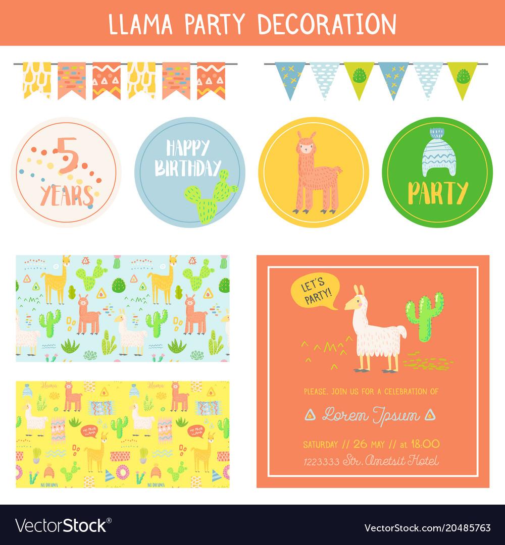 Llamas childish decorative elements set