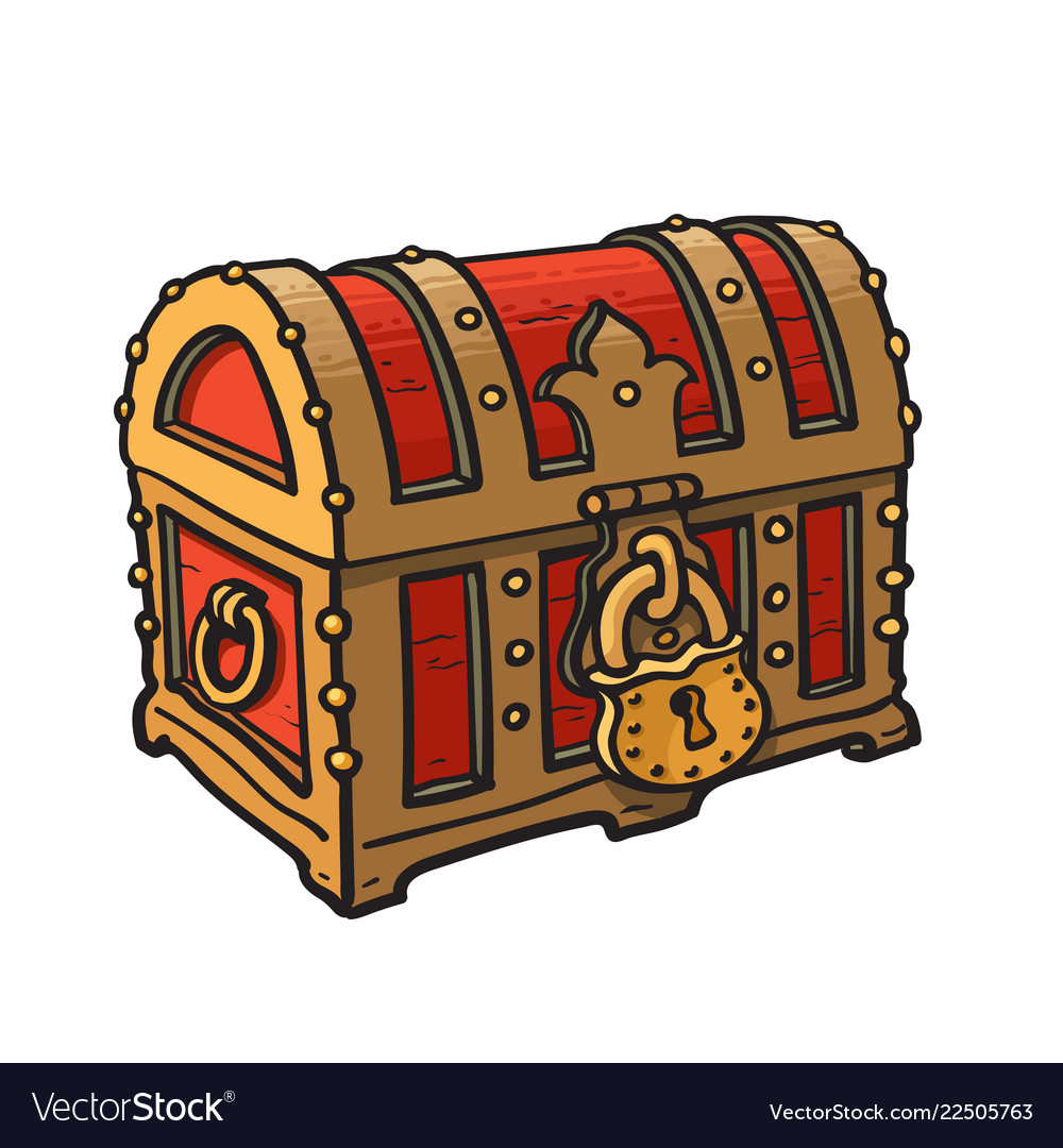 Locked pirate treasure chests with golden lock