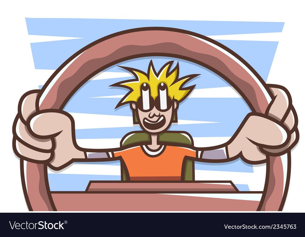Man driving a car vector image