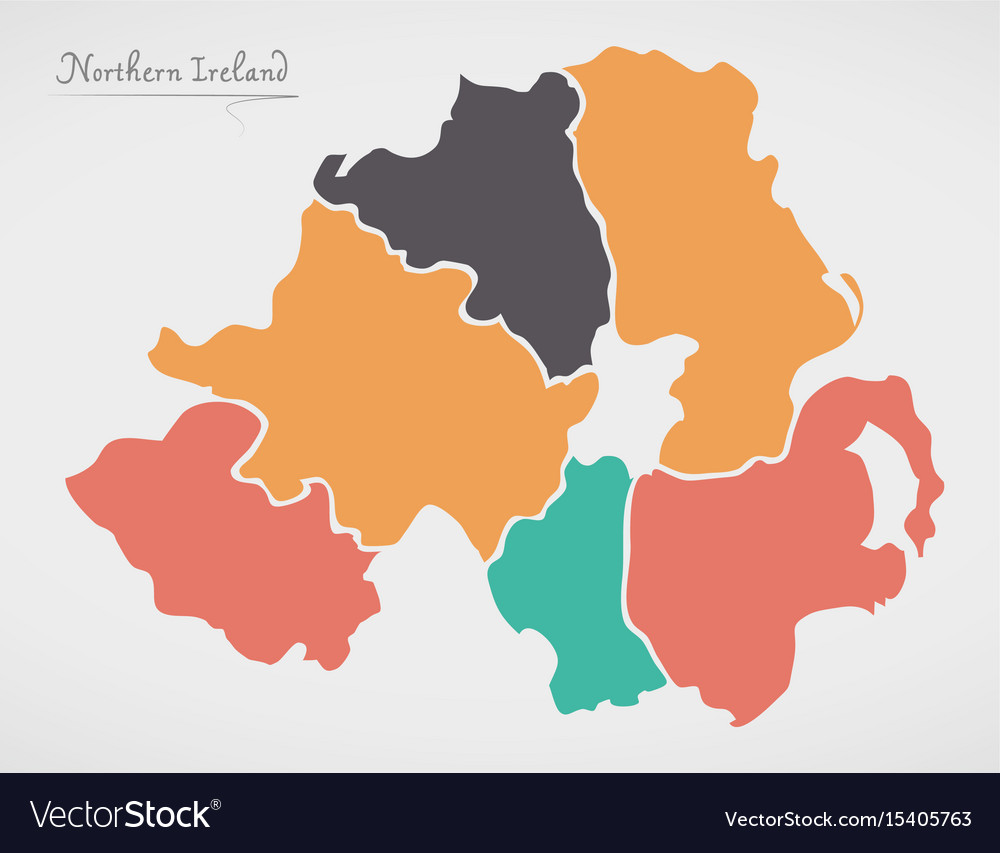 Ireland And Northern Ireland Map.Northern Ireland Map With States And Modern Round Vector Image