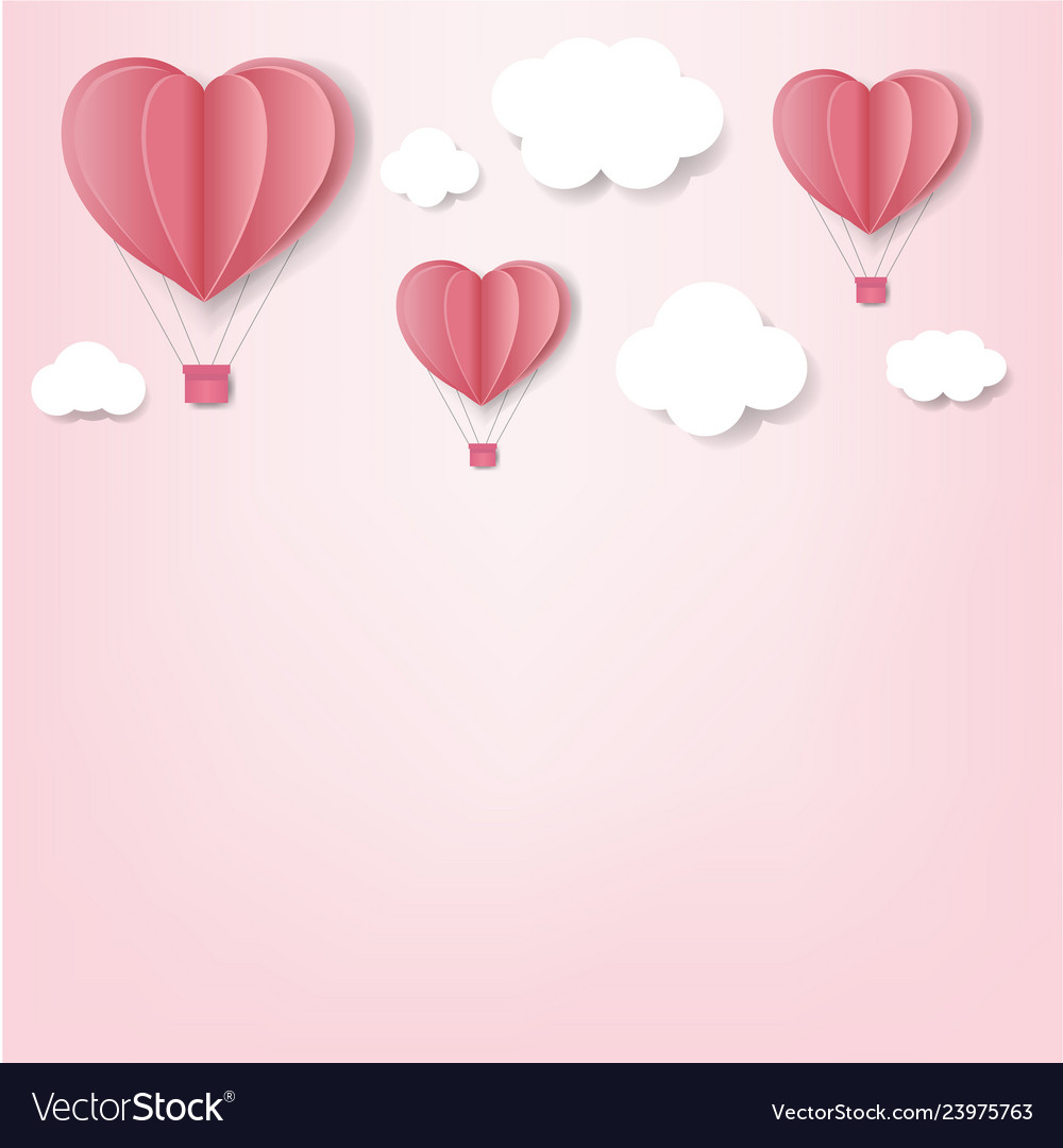 Paper hearts with cloud pink background