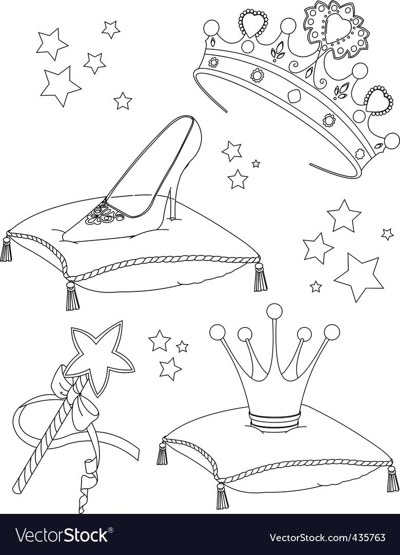 Princess collectibles coloring page vector image