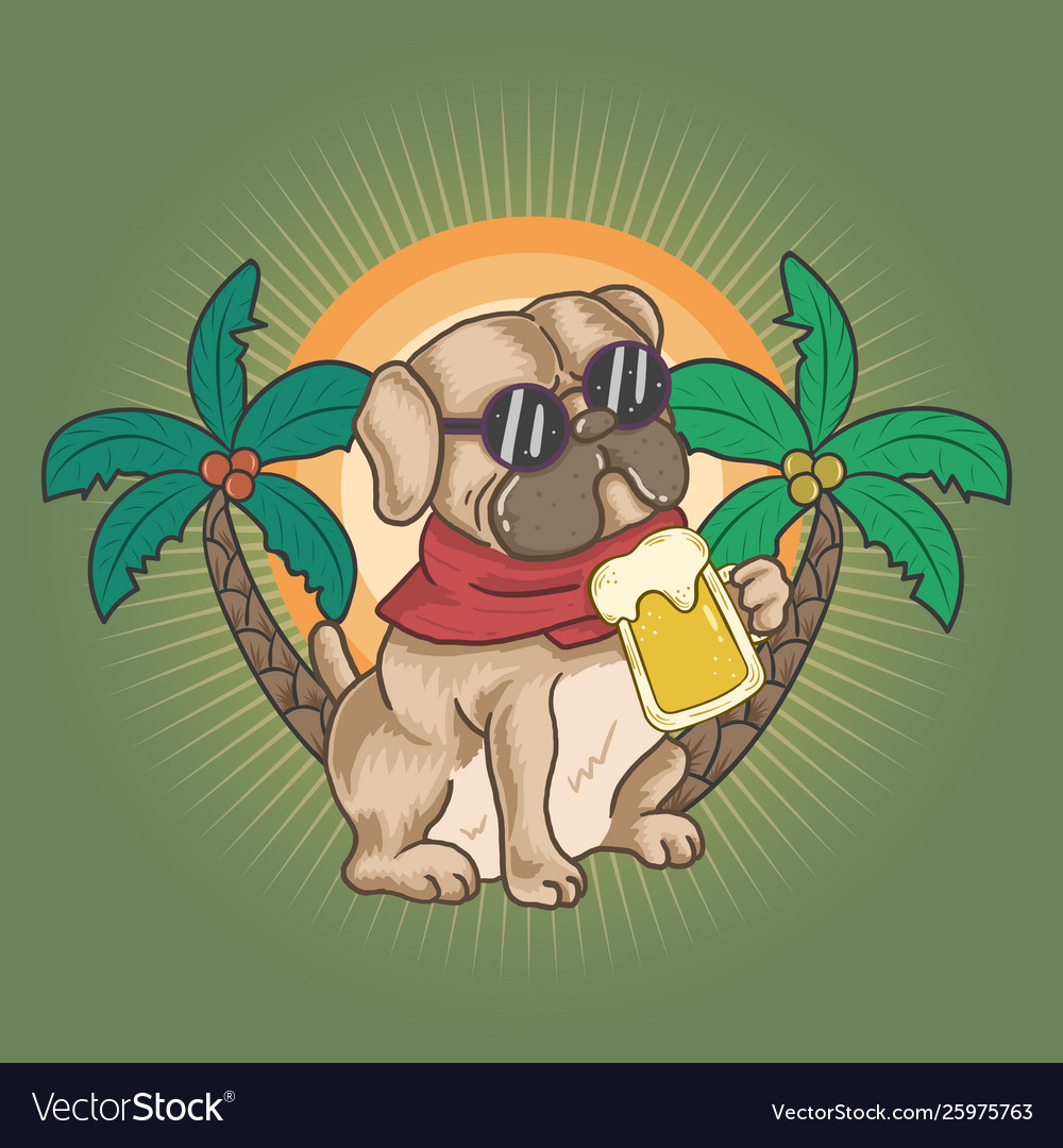 Pug and beer on summer
