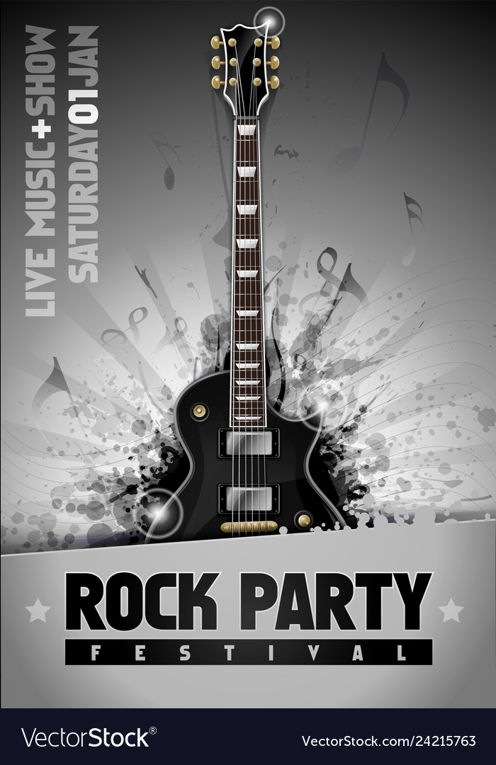 Rock poster design template with guitar