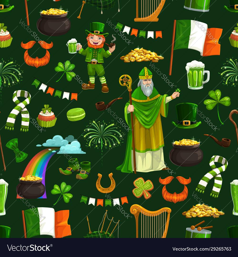 Saint patricks day holiday signs seamless pattern