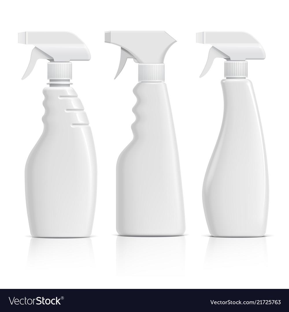 Set realistic white plastic bottles can spray