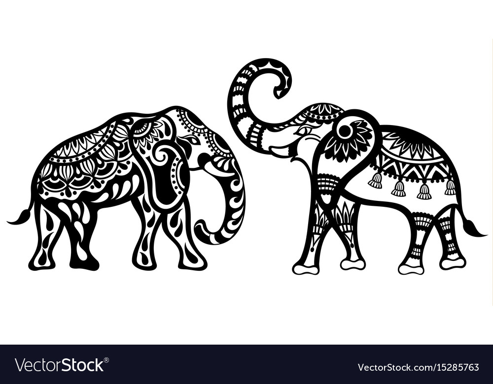 Silhouette funny elephants for your design