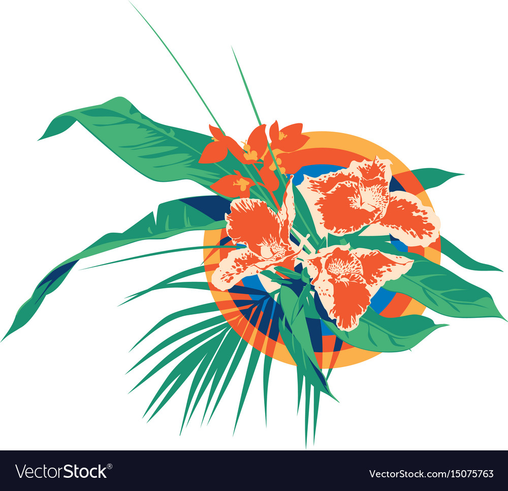 Summer hawaiian tropical palm leaves and flowers
