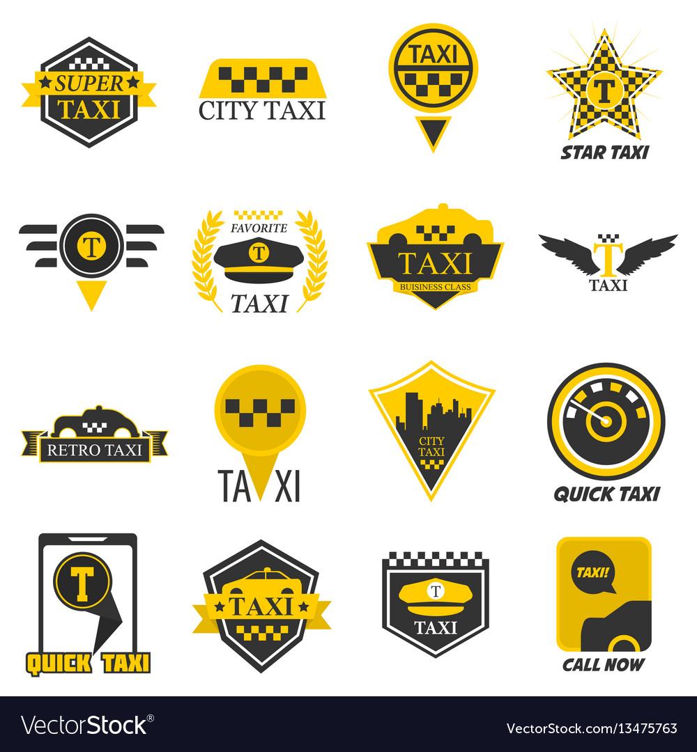 Taxi web icons set yellow checkered flag star