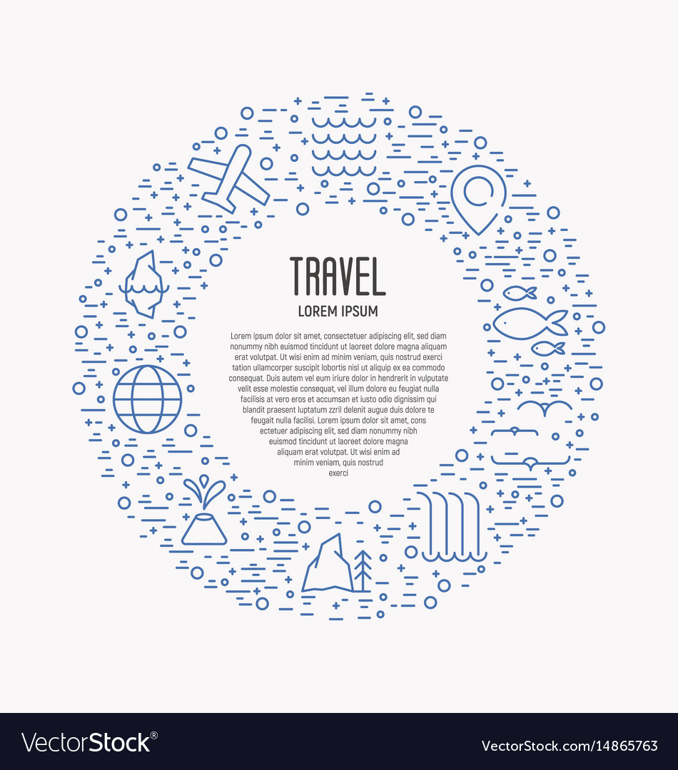 Tourism and travel thin line icons