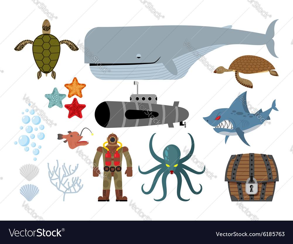 Underwater world set Keith and submarine shark and