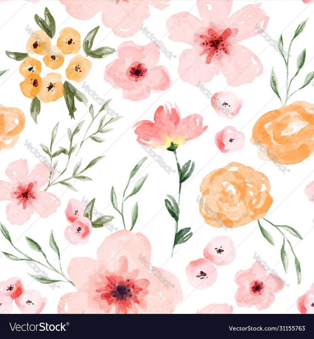 Watercolor spring flower seamless pattern