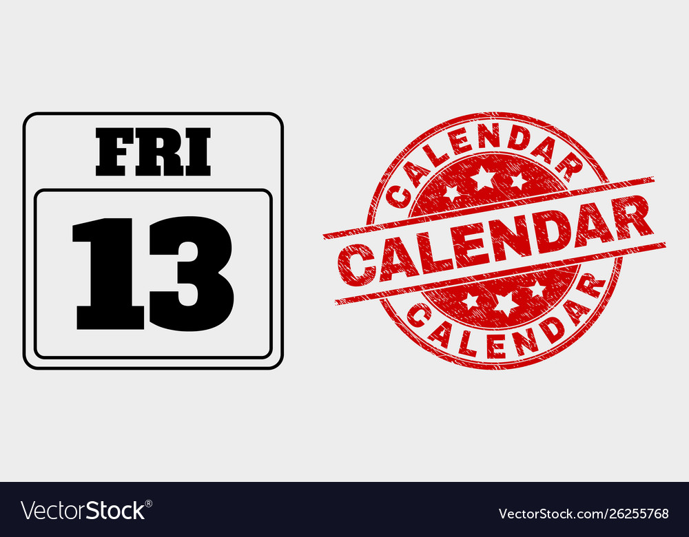 13th friday calendar page icon and grunge