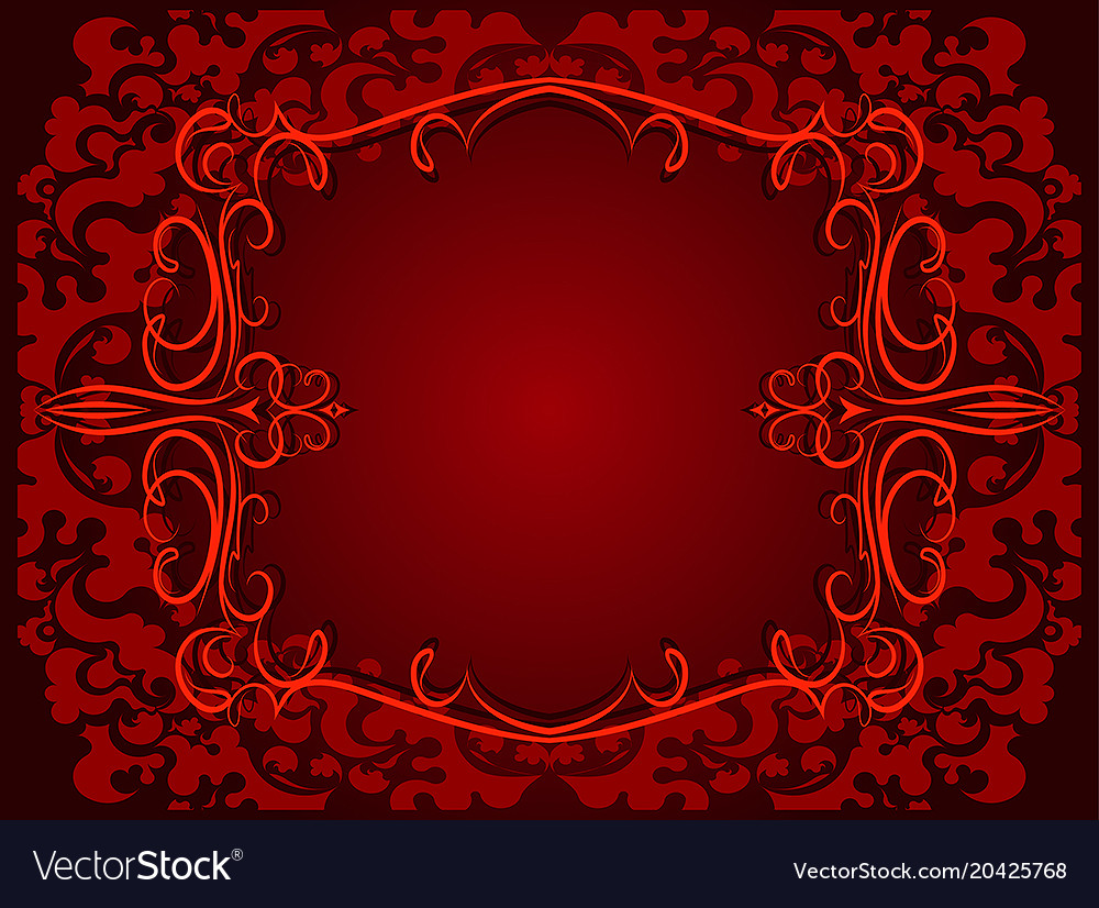 Abstract red background with floral frame