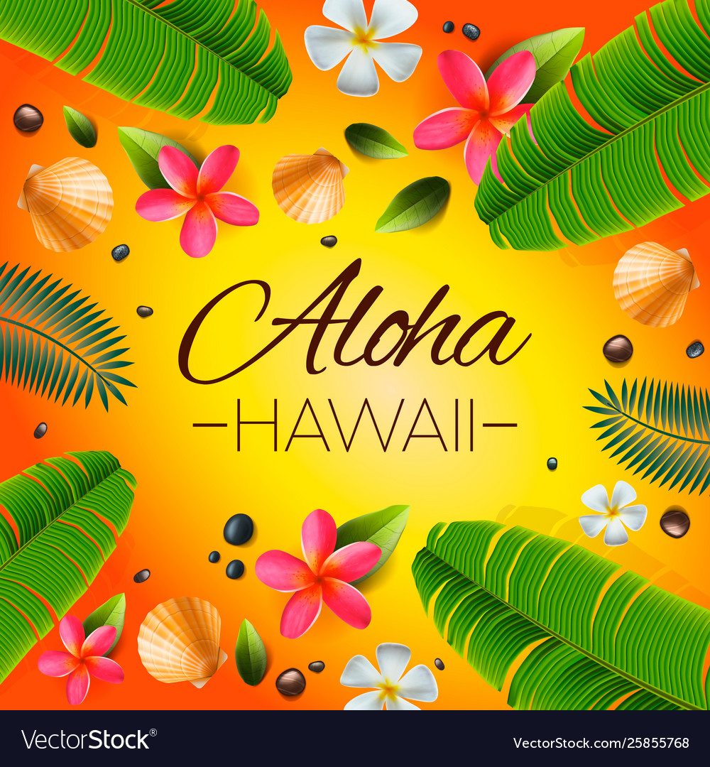 Aloha hawaii background tropical plants leaves