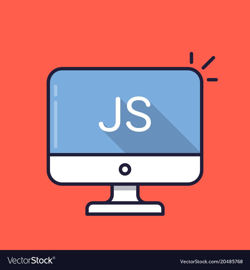 Computer with js word on screen javascript