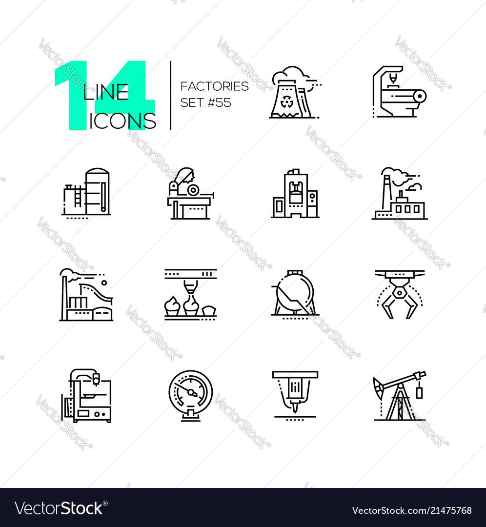 Factories - modern thin line design icons set