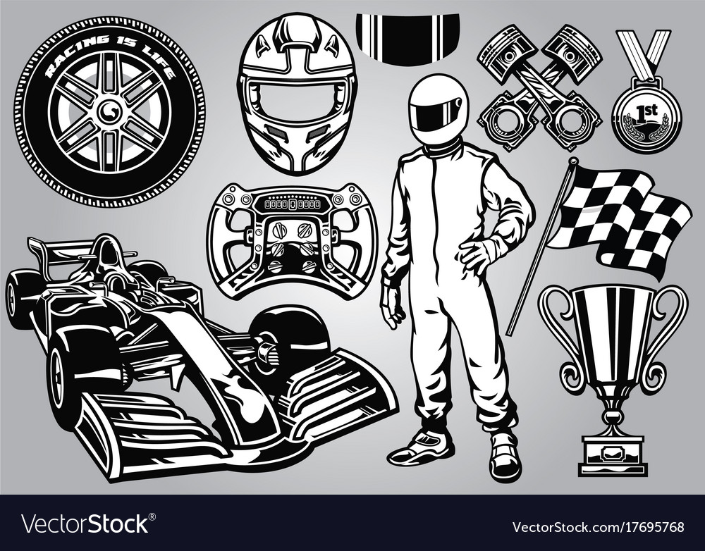 Formula racing set black and white