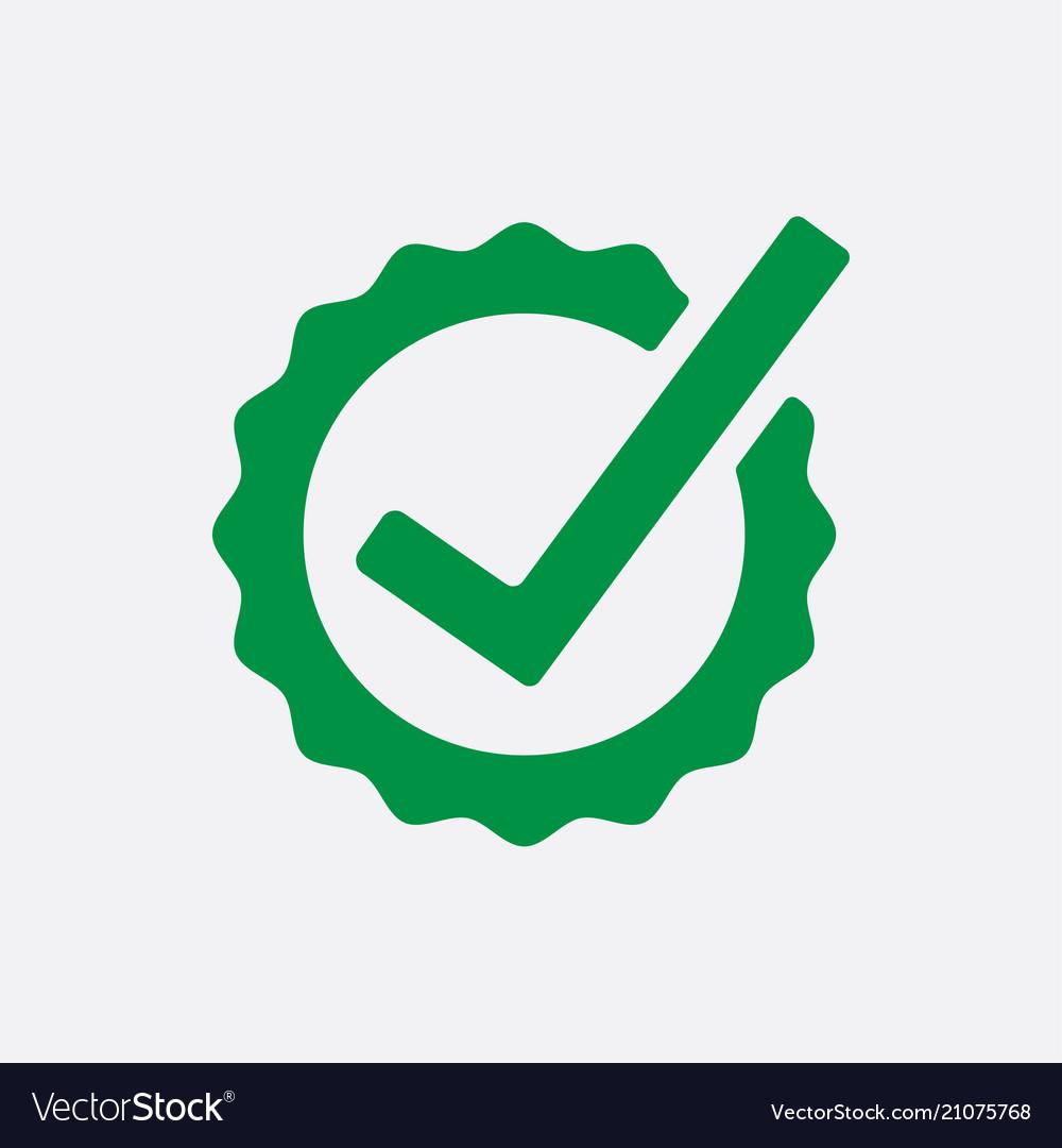 Green check list button icon check mark in round