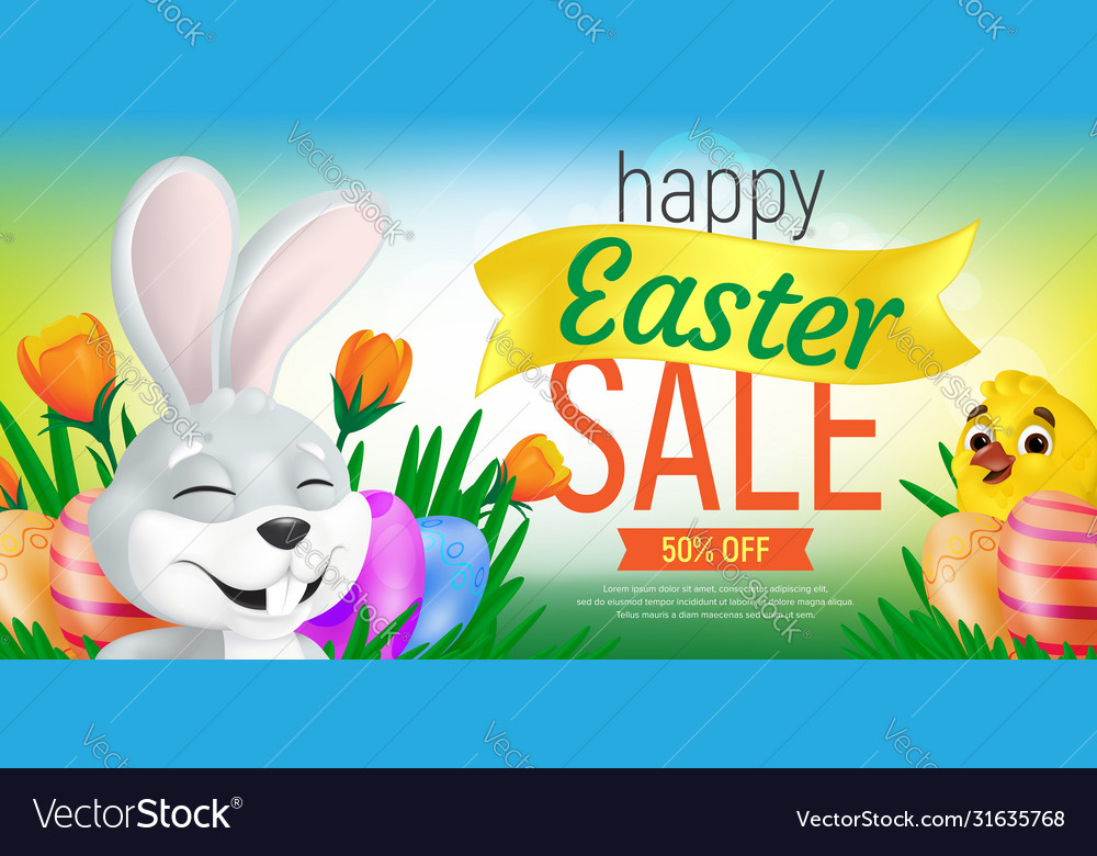 Happy easter sale web banner or flier template