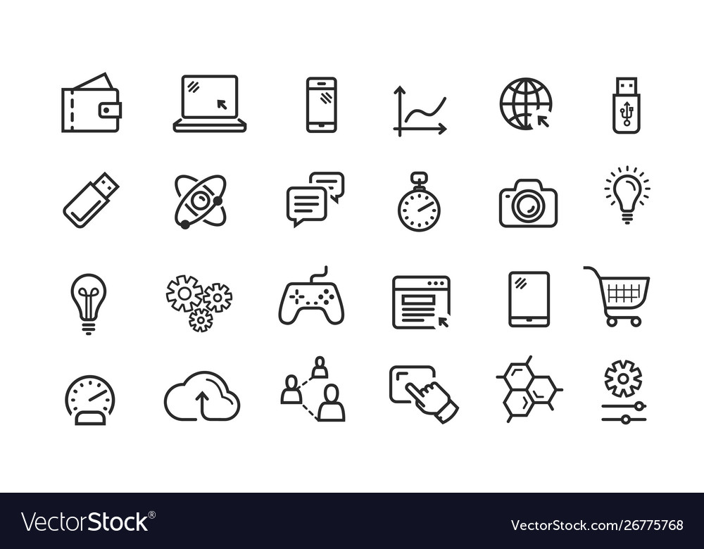 Line icon set collection black outline