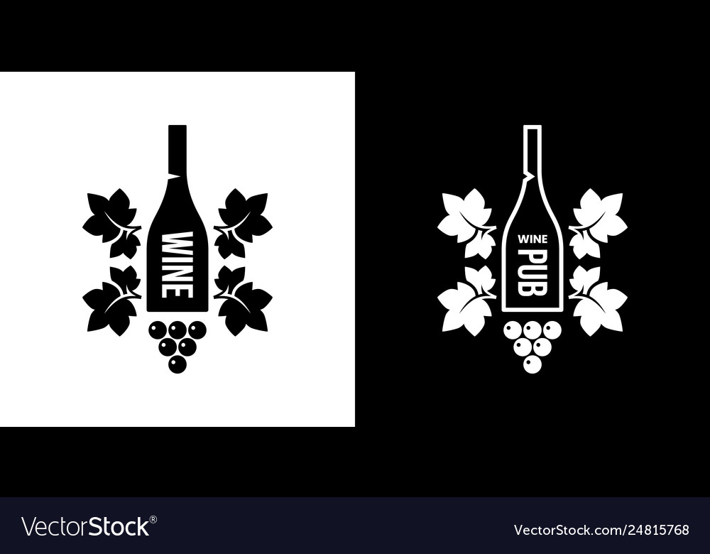 Modern wine isolated logo sign for pub tavern