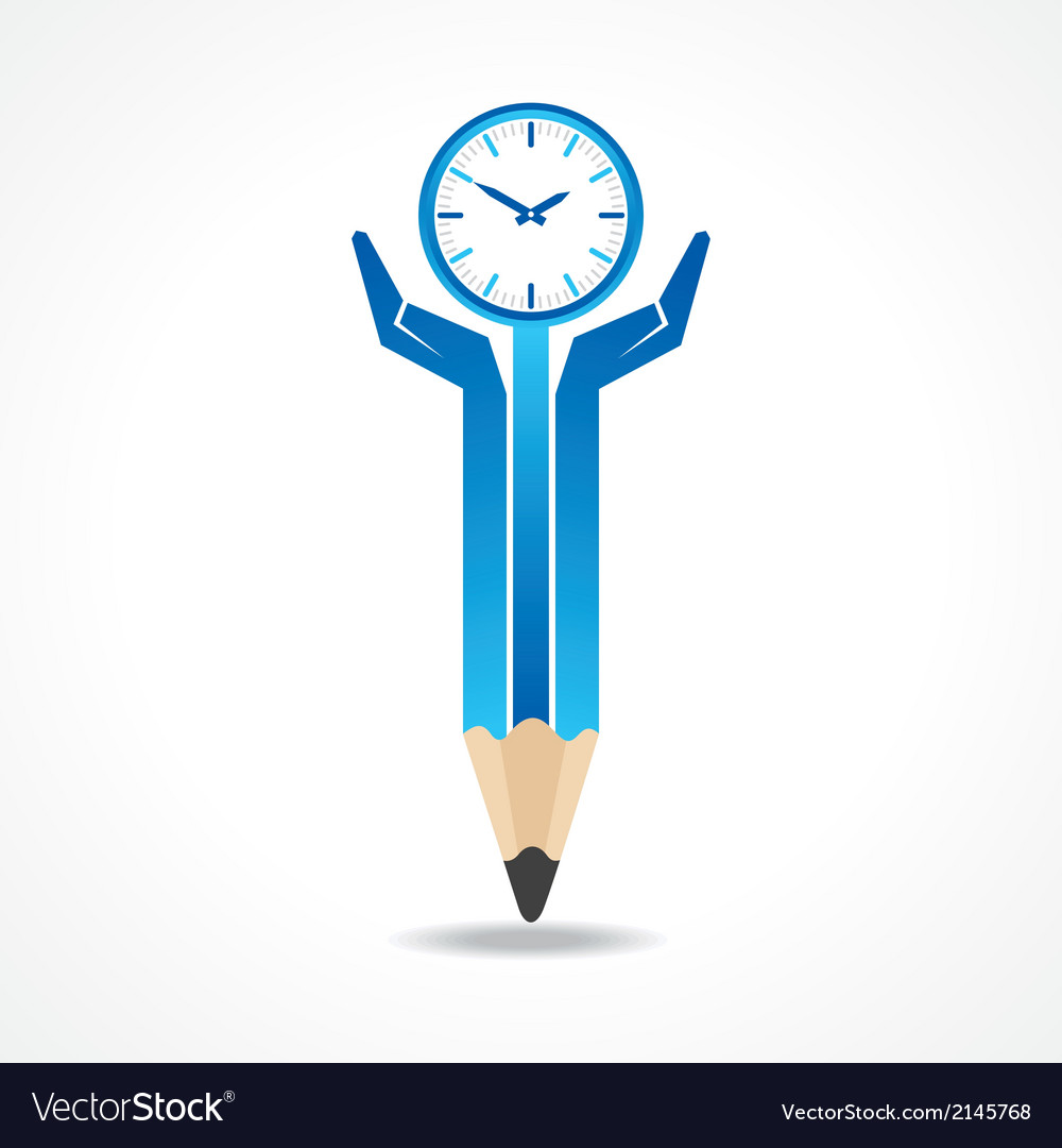 Save time concept with pencil hands vector image