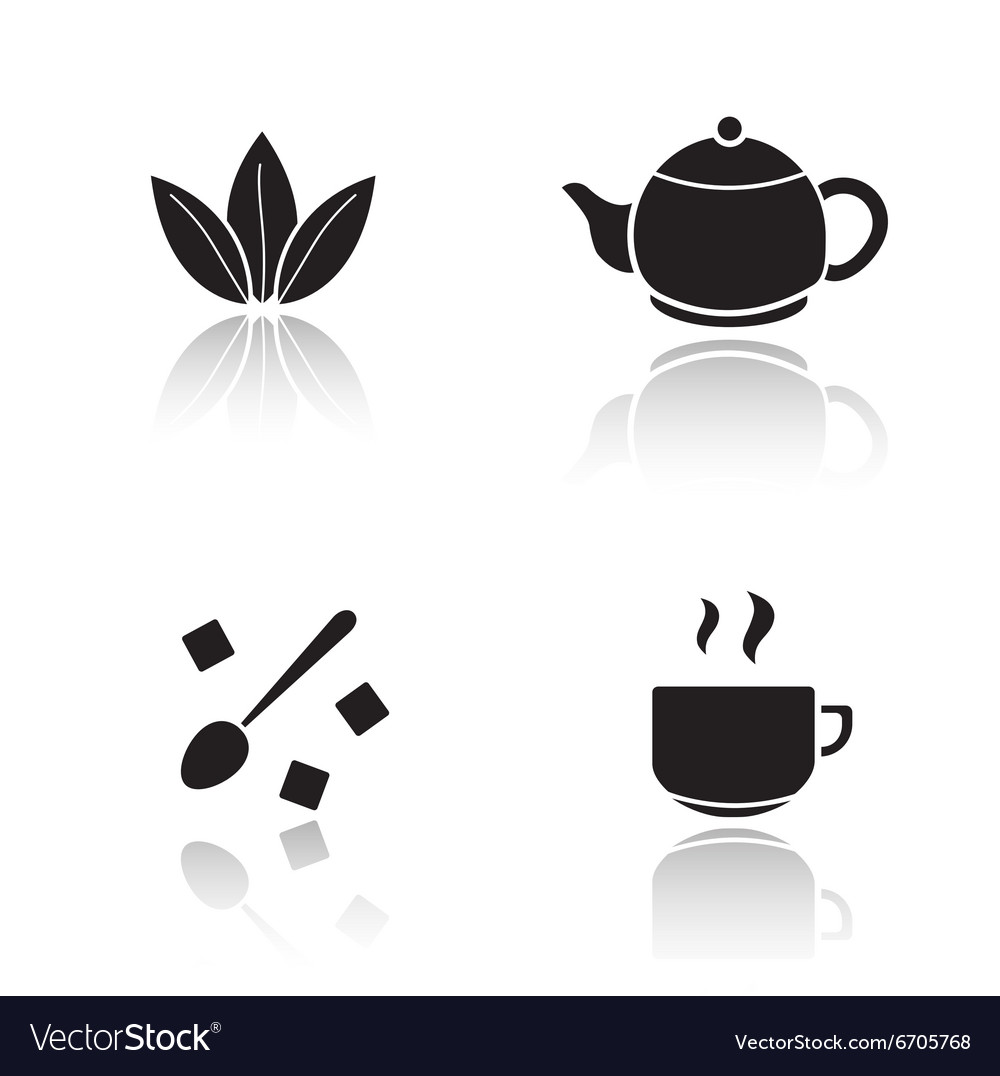 Tea accessories drop shadow icons set vector image