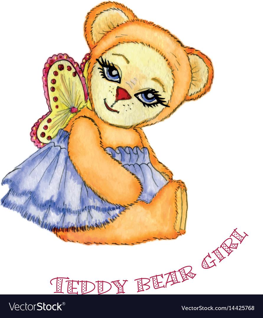 Teddy bear girl watercolor vector image