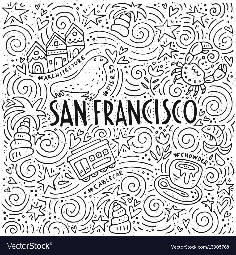 The Symbols Of San Francisco In Pattern Royalty Free Vector