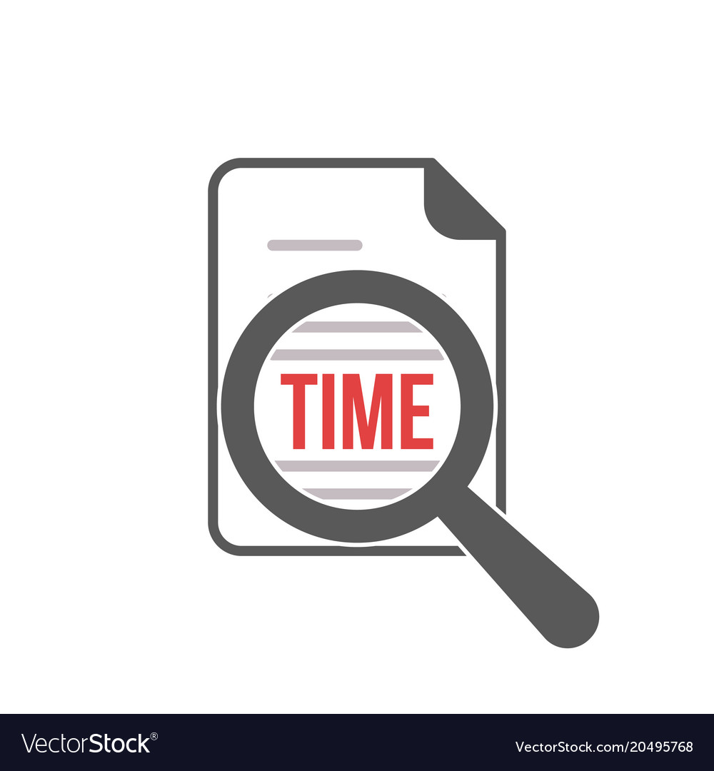 Time Word Magnifying Glass Royalty Free Vector Image