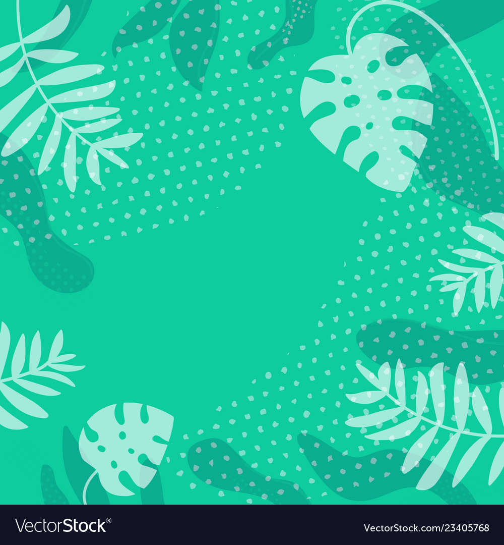 Tropical leaf silhouette frame green natural