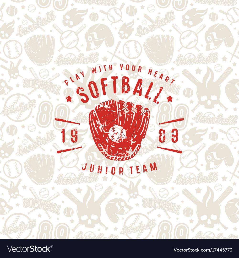 Baseball seamless pattern and emblem of softball