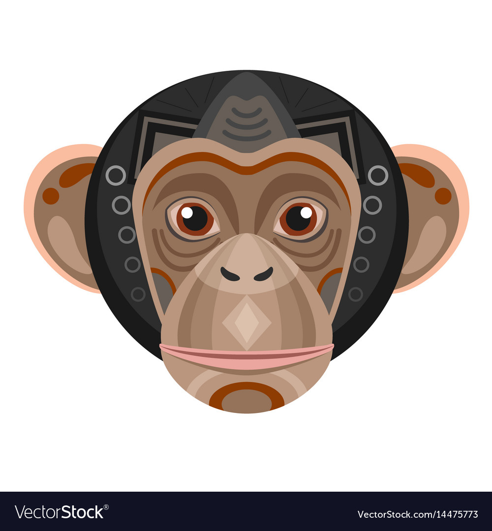 Chimpanzee head logo monkey decorative