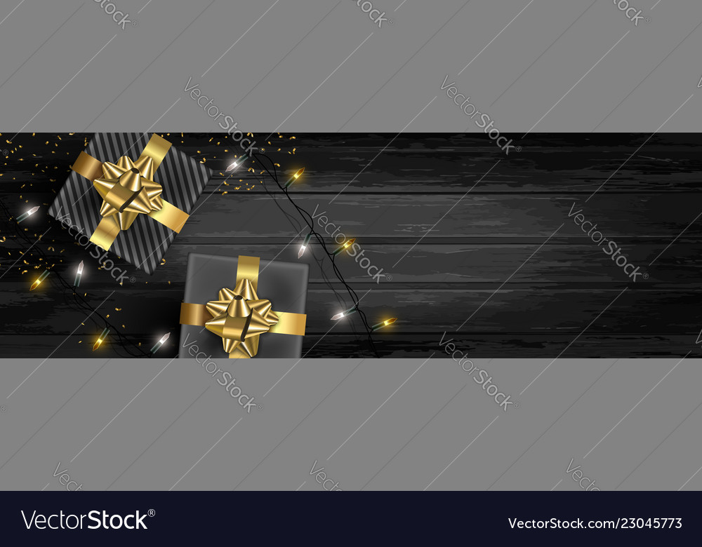 Christmas banner background of gifts and lights