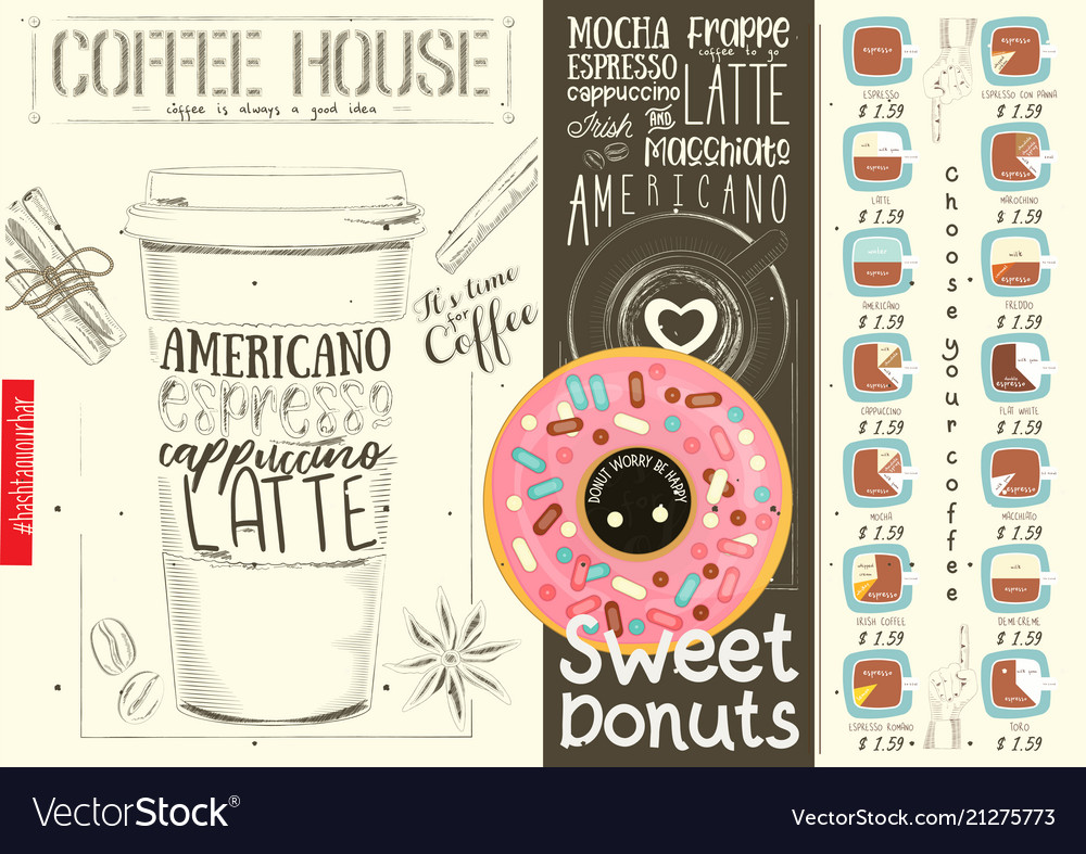 Coffee menu design template for coffee house