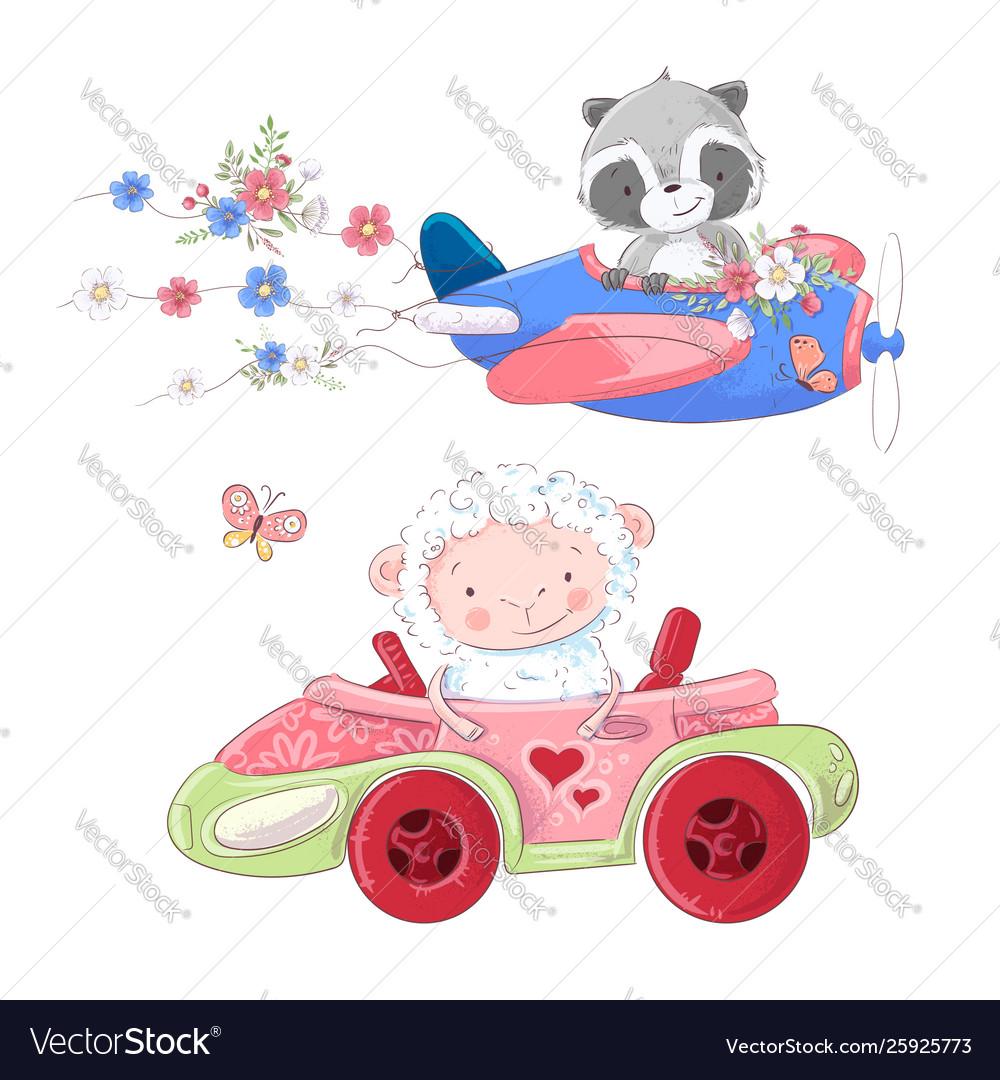 Cute cartoon set transport airplane